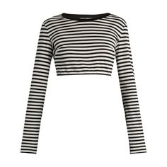 Dolce & Gabbana Striped cotton-jersey cropped top ($395) ❤ liked on Polyvore featuring tops, black stripe, long sleeve tops, dolce gabbana top, cotton jersey, slimming tops and crop top