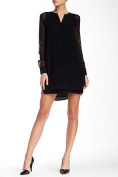 Vince. Double Layer Silk Shirtail Dress
