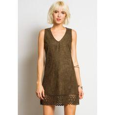 Sans Souci Vegan suede  laser cut shift dress ($35) ❤ liked on Polyvore featuring dresses, olive, sleeveless shift dress, vneck dress, brown sleeveless dress, brown dress and olive dress