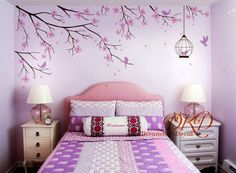 Cherry Tree branch wall decal sticker perfect for your nursery or kids room ! Wall Decals For Bedroom, Bedroom Wall Colors, Bedroom Decor, Nursery Decals, Girl Room, Girls Bedroom, Tree Wall, Cool Walls, Decoration