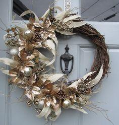 Magnolia and poinsettas. https://www.etsy.com/listing/211485271/winter-wreath-poinsettia-wreath-magnolia