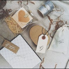 packaging - I like the leather-look for the tag hole reinforcer, try chalkboard marker on natural cardstock
