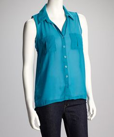 Take a look at this Blue Sleeveless Button-Up by Zenana on #zulily today! $11.99, regular 26.00