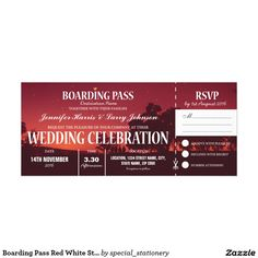 Boarding Pass Red White Stars Night Sky Wedding 10 Cm X 24 Cm Invitation Card