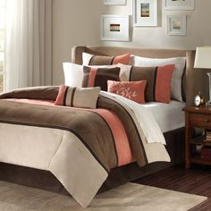 Madison Park Palisades Coral/Natural 7-Piece Comforter Set - Bed Bath & Beyond bed sets, park, color combos, guest bedrooms, bedroom sets, comforter sets, bedroom colors, master bedrooms, guest rooms