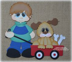 Boy and Dog Premade Scrapbooking Embellishment by MyCraftopia
