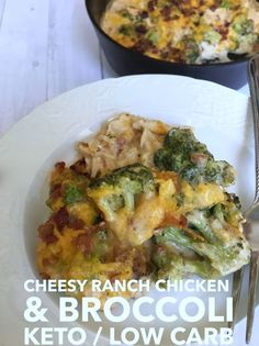 Cheesy Ranch Chicken & Broccoli (Keto & Low Carb Friendly) keto / keto diet / low carb / ketogenic diet / easy recipes / lchf / keto lifestyle / keto chicken casserole recipe / keto recipe / chicken and broccoli Broccoli Recipes, Bacon Recipes, Low Carb Recipes, Diet Recipes, Healthy Recipes, Chicken Broccoli, Easy Recipes, Chicken Bacon, Cheesy Chicken