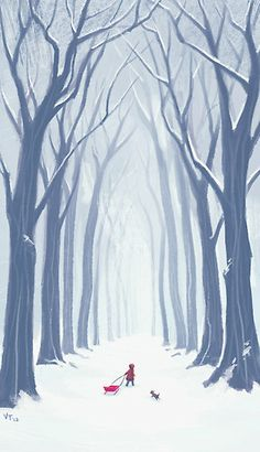 """""""A Snowy Walk in the Woods"""" by Vivienne To"""