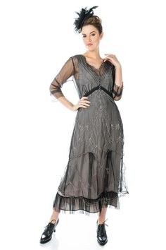 Mother of the Bride Dresses by Nataya Plus Size Vintage Dresses, Vintage Style Dresses, Victorian Dresses, Black And Silver Dress, White Dress, Black Silver, Titanic Dress, Vintage Inspired Outfits, Groom Dress