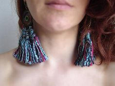 Big Tassels Indian earrings Bohemian Jewelry Native