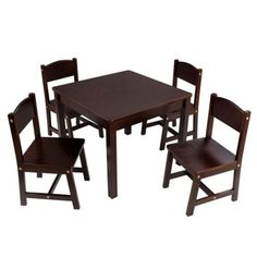 KidKraft Farmhouse Table and Chair Set Espresso - - KidKraft?s Farmhouse Table and Set provides kids with a space perfect for playing board games, working on homework and much more. Kids Play Table, Toddler Table And Chairs, Kid Table, Table And Chair Sets, Farmhouse Table Chairs, Dining Table, Dining Chairs, Square Tables, A 17