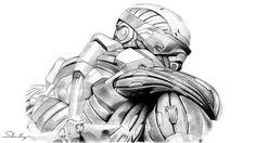 TODESBLICK von Andreas Stadlmayr | 10. 2010    Diese Figur ist ein Soldat der Spezialeinheit Raptor aus dem Computerspiel Crysis, mit dem der Spieler seine Abenteuer und Missionen erlebt. Obwohl sein Gesicht verdeckt ist, spürt man seinen beobachtenden und warnenden Blick. Entstanden ist dieses Bild im Oktober 2010. Es wurde mit Bleistiften verschiedener Härtegraden auf einen DIN A3 Blatt gezeichnet.