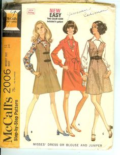 Dress Blouse and Jumper  60s Vintage Sewing Pattern by Finders2