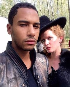 """""""Zelena & Merlin pouting for England! #OnceUponATime @itselliotknight -@BexMader"""""""