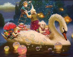 """""""Harmony Hanging the Moon"""" Victor Nizovtsev, Fairytale Art, Shell Crafts, Arts And Crafts Movement, Whimsical Art, Painting Inspiration, Illustration Art, Illustrations, Art For Kids"""