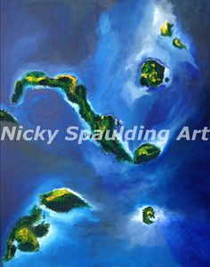 Title islands Contemporary Abstract Acrylic by NickySpauldingArt, $300.00