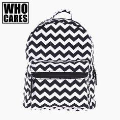 zigzag black 3D printing mini backpack women mochila masculina 2017 Fashion New canvas backpacks For Teenagers Girls school bags