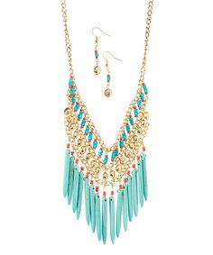 Look what I found on #zulily! Gold & Turquoise Fringe Bib Necklace & Drop Earrings #zulilyfinds