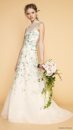 sabrina dahan bridal spring 2017 sleeveless illusion high neck aline wedding dress (renoir) mv green beaded