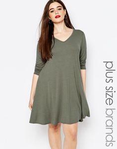Image 1 ofBoohoo Plus Long Sleeve Jersey Swing Dress