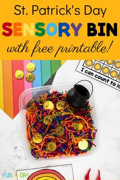 Make an easy rainbow yarn sensory bin for St. Patrick's Day! Pair it with our free gold coin printable ten frame for a fun math activity. Preschool Teacher Tips, Preschool Lesson Plans, Preschool Math, Early Learning Activities, Fun Math Activities, Sensory Bins, Sensory Play, Printable Preschool Worksheets, Printables