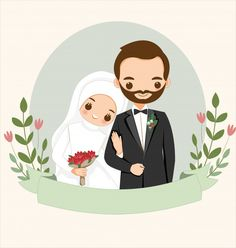 cute Muslim Couple Cartoon With Flower Wreath For Wedding Invitation Card Bride And Groom Cartoon, Wedding Couple Cartoon, Wedding Illustration, Couple Illustration, Wedding Invitation Cards, Wedding Cards, Flower Invitation, Couple Musulman, Cute Muslim Couples