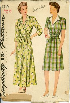 Simplicity 4719 Misses 1940s Housecoat Pattern House Day Dress or Full Length Robe Womens Vintage Sewing Pattern Bust 34