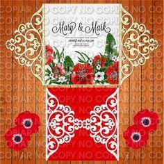 Invitación de la boda tarjeta plantilla encaje pliegues (studio V3, svg)…