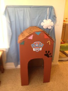 Paw Patrol Birthday Party Photo Booth.  Cardboard box, paint and free printable's Nickjr.com