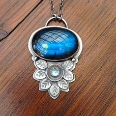 Labradorite Pendant in Sterling Silver Blue by EONDesignJewelry