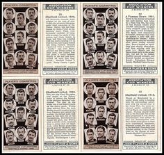4 John Player cigarette cards showing Sheff Utd FA Cup final appearances from 1902 & Browse the Football Final, Best Football Team, Bramall Lane, Football Stickers, Fa Cup Final, Sheffield United, Badges, Finals, Stamps