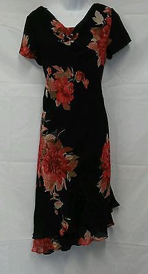 Donna Ricco NEW Multi-Color Floral Short Sleeve Below Knee Dress Ladies 6