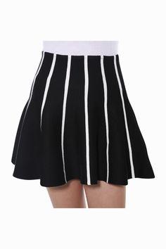 Vertical Stripe Skater Skirt In Black