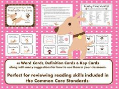 No Bones About It- These dog theme reading cards are a fun way to review reading skills covered throughout the year and included in Common Core Standards. $5.50 SPECIAL NOTE: DURING THE MONTH OF DECEMBER 2012, 100% OF MY PROCEEDS ON THE SALE OF THIS PRODUCT WILL BE DONATED TO MY LOCAL ANIMAL SHELTER. PLEASE VISIT MY BLOG FOR MORE DETAILS. THANK YOU!