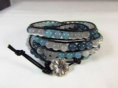 Black Leather Wrap Bracelet/ Kyanite, Aquamarine and White Tiger Eye Bracelet/ Blue Wrap Bracelet/ Hand Sewn/ Handmade/ Hand Crafted by NellieAnneDesigns on Etsy