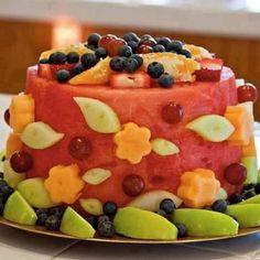 Watermelon Cake Fruit Cake Watermelon, Fresh Fruit Cake, Fruit Cakes, Fruit Salad, Spiked Watermelon, Feta Salad, Strawberry Cupcakes, Bolo Vegan, Raw Vegan