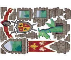 Dragon Castle Medieval Peel and Stick Large Wall Decal Theme Room by iStickUp