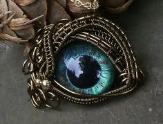Gothic Steampunk Bronze Evil Eye Pendant Blue