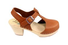 Amazon.com: Lotta From Stockholm Highwood Tbar High Heel Clogs in Tan Leather: Shoes