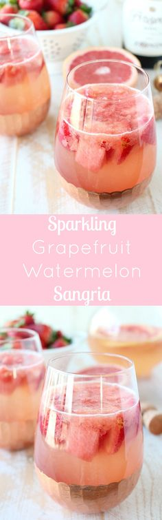 Sparkling Grapefruit Watermelon Sangria is a light and refreshing cocktail, perfect for a warm summer day or holidays, like Valentine's Day or 4th of July! Served in @worldmarket Copper Stemless Wine Glasses #WorldMarketTribe