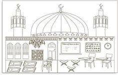 Coloring the Badshahi Masjid Lahore worksheet for kids for
