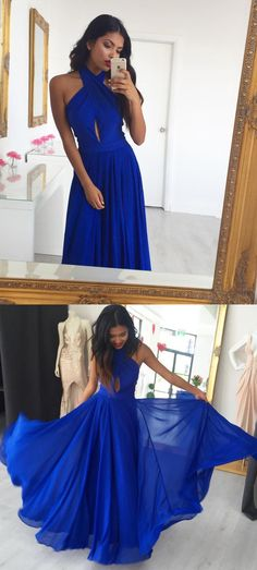 Simple Halter Royal Blue Chiffon Prom Dress #promdresses#promdresses2018#royalbluepromdresses#halterpromdresses#eveningdresses2018#promdressesonline