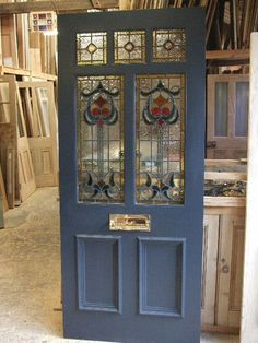 Art Nouveau stained glass door front door with mail slot! but the kind that bas the catch on the back side House Front Door, Glass Front Door, Glass Doors, Front Door Design, Front Door Colors, Stained Glass Door, Leaded Glass, Victorian Stained Glass Panels, Art Nouveau