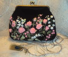 Embroidery Purse, Ribbon Embroidery Tutorial, Silk Ribbon Embroidery, Potli Bags, Sweet Bags, Romantic Shabby Chic, Wedding Purse, Flower Hair Accessories, Ribbon Art