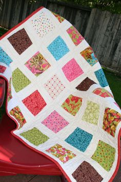 Wacky squares quilt made with Lila Tueller fabric by Olie & Evie, $75.00