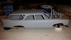 1960 Plymouth wagon building like a derby car
