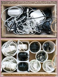 Arrange and organize cables with the help of yogurt cups and finally find no more cable chaos in the drawers … *** by: www.de Get your cables organized with plastic cups - Home Page Diy Organizer, Cable Organizer, Organisation Hacks, Room Organization, Dresser Drawer Organization, Ideas Para Organizar, Yogurt Cups, Home Hacks, Diy Storage