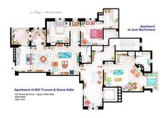 TV Series Floor Plan | Will & Grace | Jack MacFarland's Apartment & Will Truman & Grace Adler's Apartments (155 Riverside Drive - Upper West Side - Manhattan, NY)
