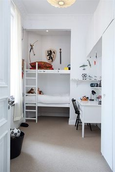Boys Room: Small narrow room - utilizing corner nook for built in bunk beds