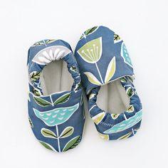 Tulip Flower Baby Shoes on Dark Blue. Organic by GrowingUpWild